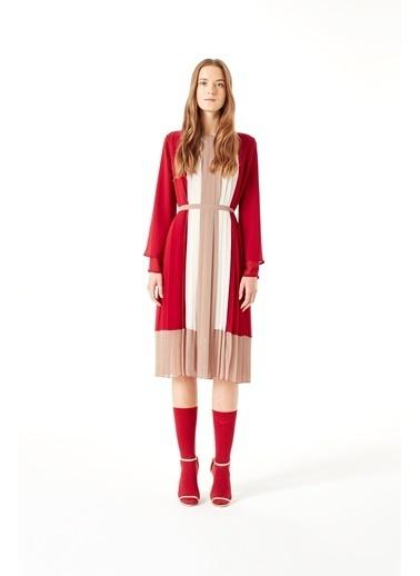 Mizalle Üç Renkli Pliseli Elbise Bordo